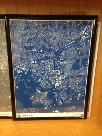 Raleigh map print by CityFabric