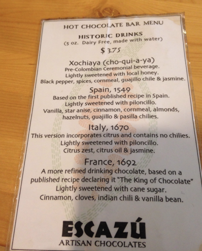 Historic Hot Chocolate Menu