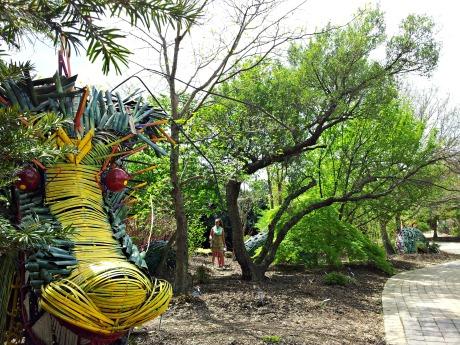 Giant Sir Walter Snarleigh dragon artwork at J.C. Raulston Arboretum.