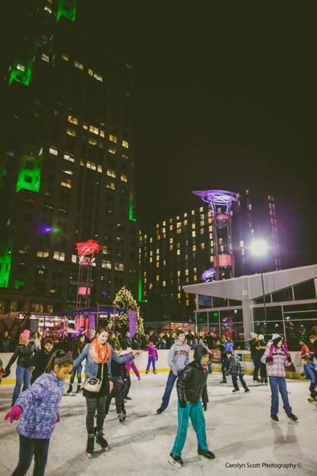 Ice skating in downtown Raleigh; Photo courtesy of Ipreo Raleigh Winterfest